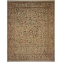 Pak-Persian Wali Campbell Green/ Pink Wool Area Rug - 9'3 x 12'4