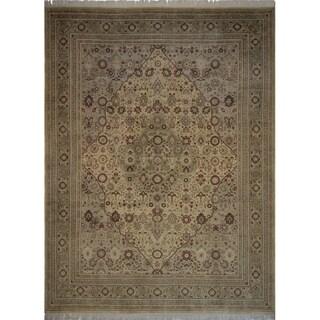 Noori Rug Pak-Persian Wali Samara Gold/Green Wool Rug (9'1 x 12'3)