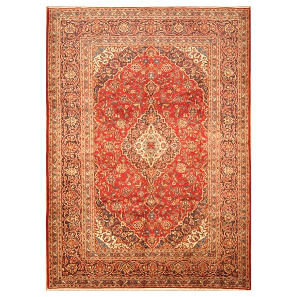 Handmade Herat Oriental Persian Hand-Knotted Kashan Wool Rug - 8'1 x 11'1