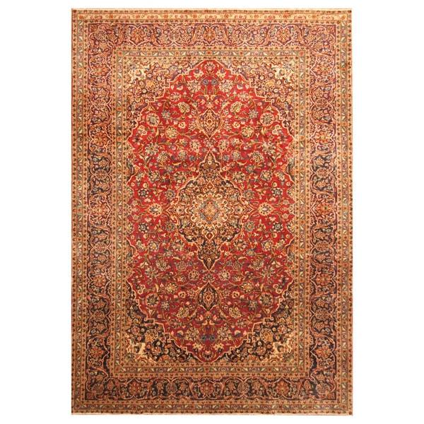 Handmade Herat Oriental Persian Hand-Knotted Kashan Wool Rug - 8'2 x 12' (Iran)