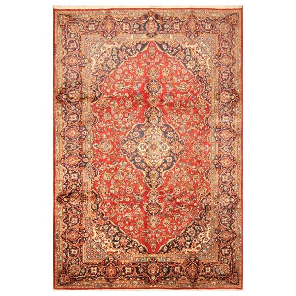 Handmade Herat Oriental Persian Hand-Knotted Kashan Wool Rug (8'2 x 12') - 8'2 x 12'