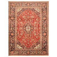 Handmade Herat Oriental Persian Hand-Knotted Kashan Wool Rug (8'4 x 10'9) - 8'4 x 10'9