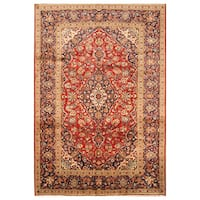 Handmade Herat Oriental Persian Hand-Knotted Kashan Wool Rug - 7'10 x 11'5