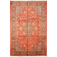 Handmade Herat Oriental Persian Hand-Knotted Mahal Wool Rug - 7'7 x 11'2