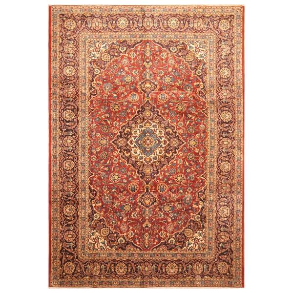 Handmade Herat Oriental Persian Hand-Knotted Kashan Wool Rug - 7'10 x 11'7 (Iran)