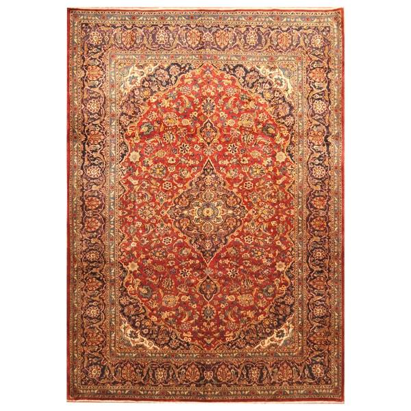 Handmade Herat Oriental Persian Hand-Knotted Kashan Wool Rug (8'3 x 11'8) - 8'3 x 11'8