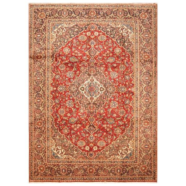 Handmade Herat Oriental Persian Hand-Knotted Kashan Wool Rug - 7'9 x 10'10 (Iran)