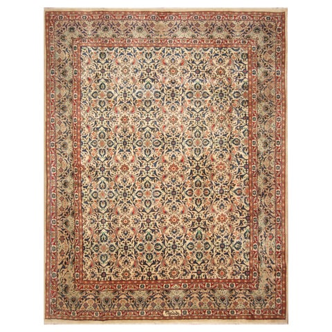 Handmade Herat Oriental Persian Hand-Knotted Mashad Wool Rug - 9'7 x 12'4 (Iran)