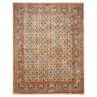 Handmade Herat Oriental Persian Hand-Knotted Mashad Wool Rug - 9'7 x 12'4