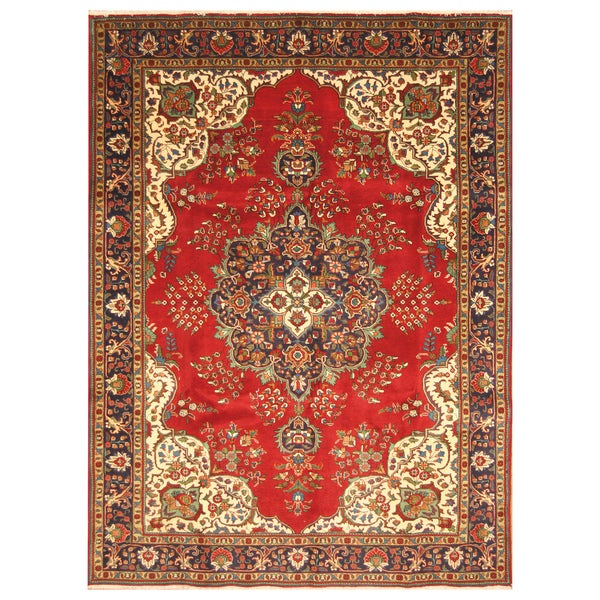 Handmade Herat Oriental Persian Hand-Knotted Tabriz Wool Rug - 7'9 x 11'3