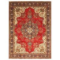 Handmade Herat Oriental Persian Hand-Knotted Tabriz Wool Rug (Iran) - 7'9 x 11'3