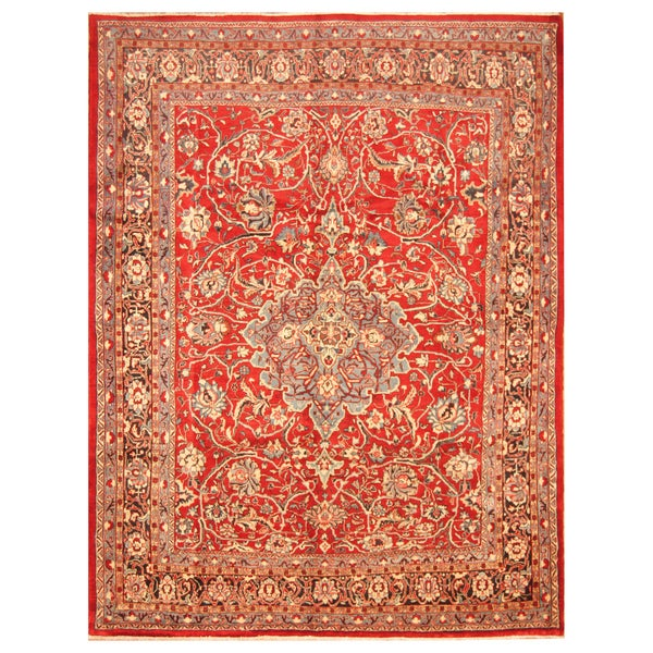 Handmade Herat Oriental Persian Hand-Knotted Mahal Wool Rug - 8'2 x 10'7 (Iran)