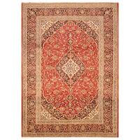 Handmade Herat Oriental Persian Hand-Knotted Kashan Wool Rug - 8'1 x 11'3