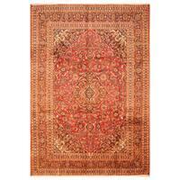 Handmade Herat Oriental Persian Hand-Knotted Kashan Wool Rug - 7'8 x 11'2