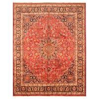 Handmade Herat Oriental Persian Hand-Knotted Mashad Wool Rug (9'6 x 12'3) - 9'6 x 12'3
