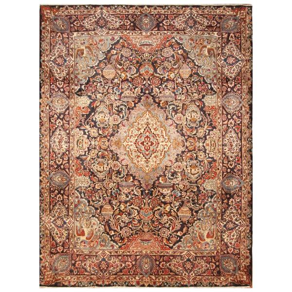 Handmade Herat Oriental Persian Hand-Knotted Kashmar Wool Rug - 9'9 x 12'7