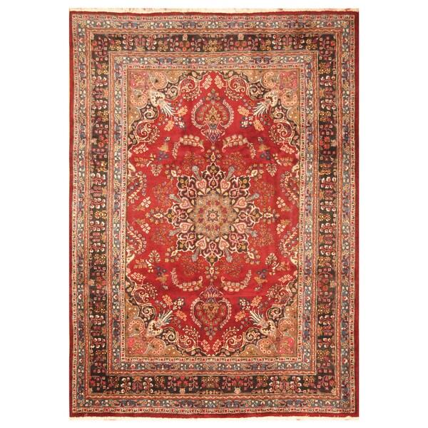 Handmade Herat Oriental Persian Hand-Knotted Mashad Wool Rug (Iran) - 8 x 11'3