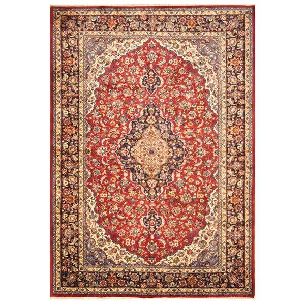 Handmade Herat Oriental Persian Hand-Knotted Kashan Wool Rug (8'5 x 11'6)