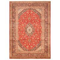 Handmade Herat Oriental Persian Hand-Knotted Kashan Wool Rug - 7'10 x 11' (Iran)