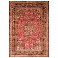 Handmade Herat Oriental Persian Hand-Knotted Mashad Wool Rug (7'10 x 11') - 7'10 x 11'