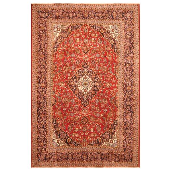 Handmade Herat Oriental Persian Hand-Knotted Kashan Wool Rug (8' x 12')