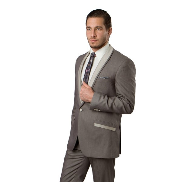 Mens Suit 2 Pieces Satin Shawl Collar One Cover Satin Button Suit