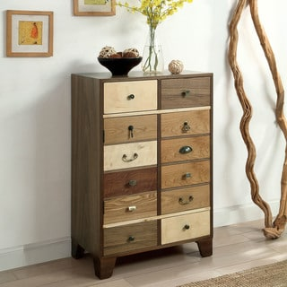 Furniture of America Rere Rustic Walnut Solid Wood Hallway Chest
