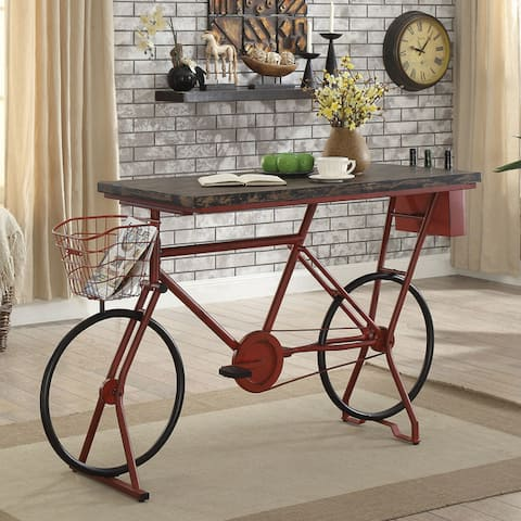 Furniture of America Wixi Industrial Red Metal Bicycle Bar Table