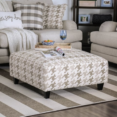Murgia Transitional Grey Houndstooth Square Ottoman by FOA