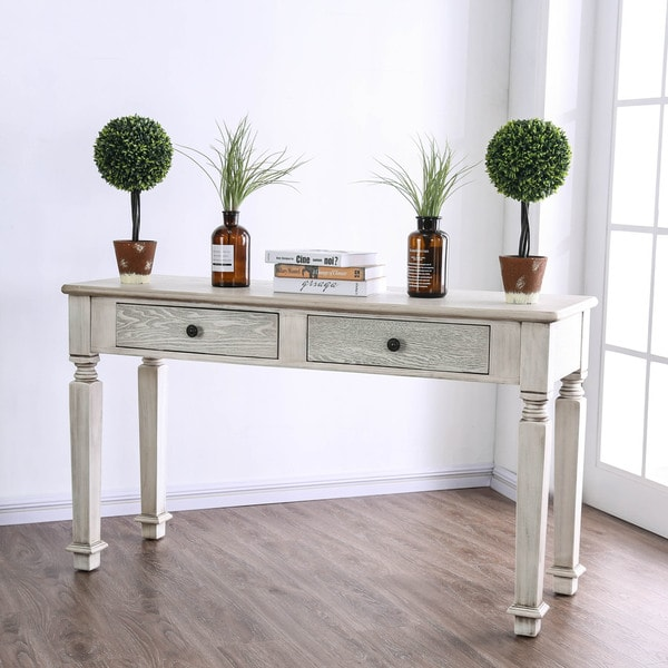Furniture Of America Julian Country Traditional Antique White 2 Drawer Sofa Table