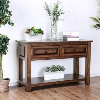 Annette Rustic Walnut 2-drawer Sofa Table by FOA