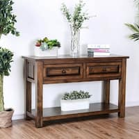 Furniture of America Annette Rustic Walnut 2-drawer Sofa Table