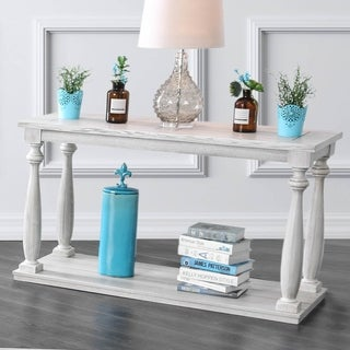 Bethany Traditional Antique White Sofa Table by FOA