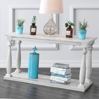 Furniture of America Bethany Farmhouse Rustic Antique White Sofa Table