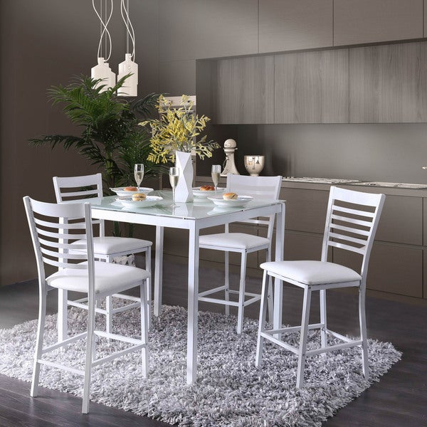 Furniture Of America Jake Contemporary 5 Piece Glass Top Counter Height  Dining Set