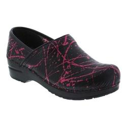 Women's Sanita Clogs Primrose Clog Black/Pink Printed Rubberized Leather