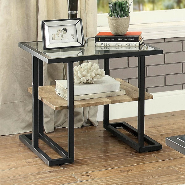 Exceptionnel Furniture Of America Holmes Industrial Metal Black End Table