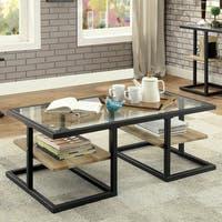 Furniture of America Holmes Industrial Metal Black Coffee Table