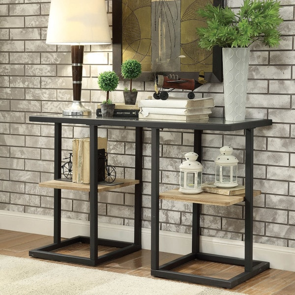 Genial Furniture Of America Holmes Industrial Metal Black Sofa Table
