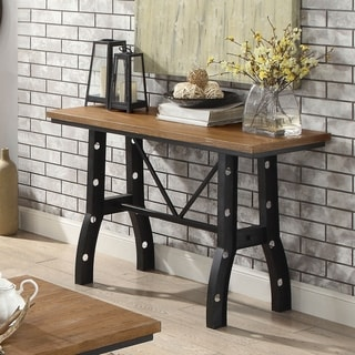 Link to Furniture of America Dern Industrial Walnut Solid Wood Top Sofa Table Similar Items in Living Room Furniture