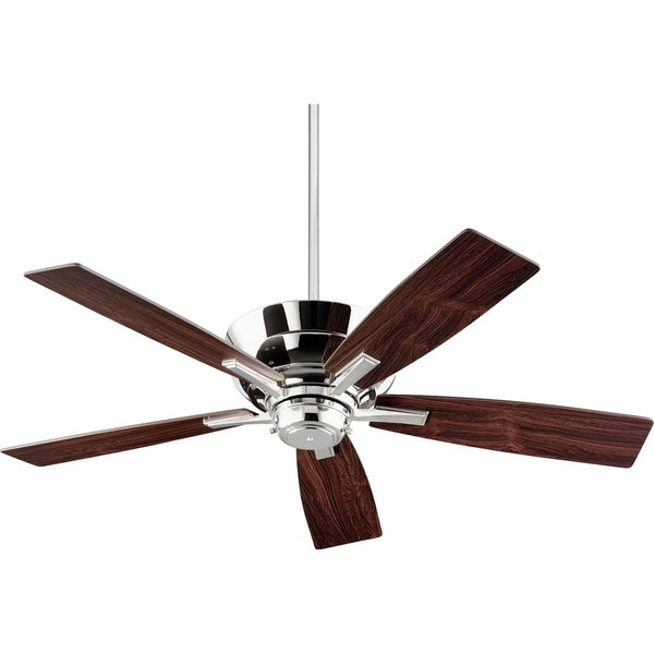Mercer Polished Nickel Finished Wood 52 Inch Tranistional Ceiling Fan With Integraded Uplight Light Kit