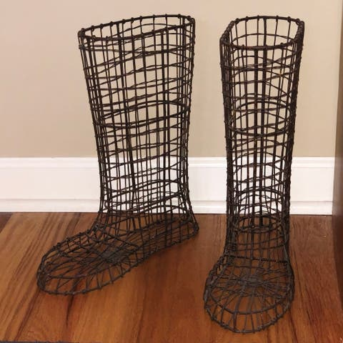 Wire Boots Planter Pair