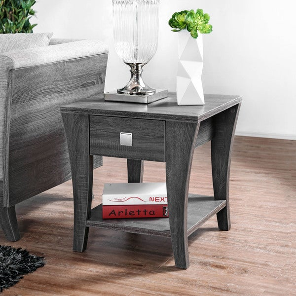 Furniture of America Werc Contemporary Grey End Table