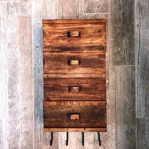 Matte Brown Reclaimed Wood 4-door Wall Shelf
