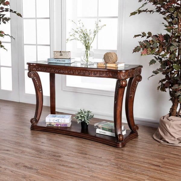Foyer Table Glass Top : Shop furniture of america farrell traditional dark oak