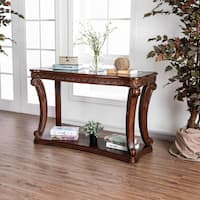 Furniture of America Farrell Traditional Dark Oak Glass Top Entryway/Sofa Table