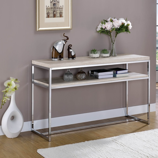 Furniture of America Saji Contemporary Chrome Metal Console Table