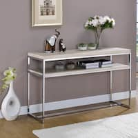Furniture of America Olsen Contemporary Chrome Console Table