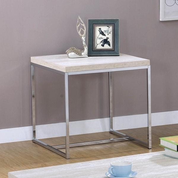 Furniture of America Saji Contemporary Chrome Metal Square End Table