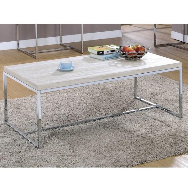 Furniture of America Saji Contemporary Chrome Metal Coffee Table